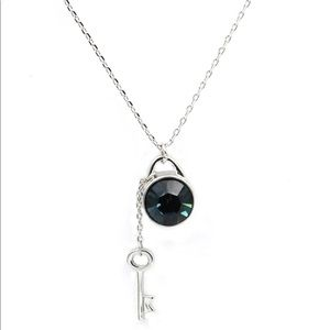 Sterling silver Green small fresh crystal necklace